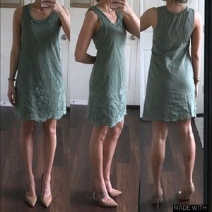 VENUS sage green lace shift dress